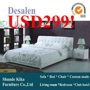 White Modern Leather Bed with Buckle (988) pictures & photos