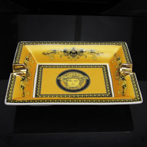 High Quanlity Yellow Lace Pattern Ceramic Cohiba Cigar Ashtray (ES-EB-088) pictures & photos