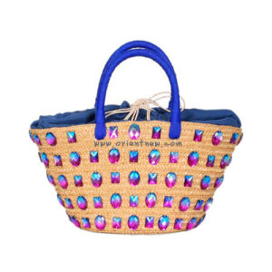 Jewelry Stone Trimming Straw Beach Tote Bag