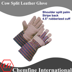 "Shoulder Split Palm, Stripe Back, 4.5"" Rubberized Cuff Leather Work Gloves pictures & photos"