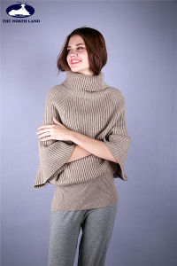Cashmere Big Turtleneck Loose & Short Sleeved Pullover pictures & photos