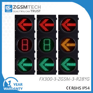 3 Colors Red Yellow Green LED Arrow Traffic Light and 1 Digital Countdown Timer pictures & photos