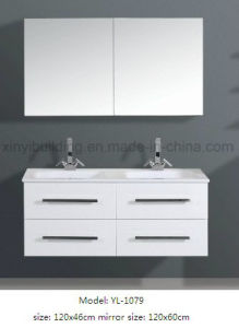 Sanitary Double Sink Vanity Furniture with Mirror pictures & photos