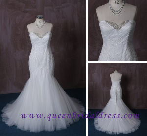 2015 Gorgeous Ivory Trumpet Crystals Beaded Real Pictures Wedding Dress