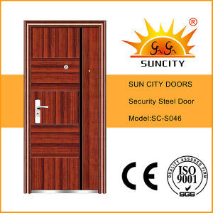 Steel Door Design Metal Door Cheap Wrought Iron Door (SC-S046) pictures & photos