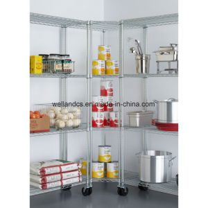 Commercial Restaurant Storage 4-Tier Chrome Steel Corner Wire Shelving Rack pictures & photos