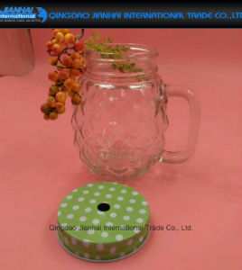 Transparent Pineapple Shape Glass Mason Jar with Handle pictures & photos