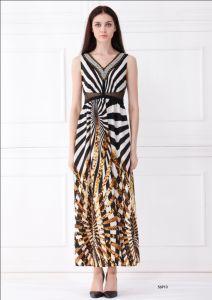 Latest Designer Dresses with Strap, Woman Sleeveless Long Fashion Dress (56910)