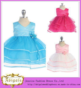 Cute Hot Lovely Satin Organza Sleeveless Zipper Back Ruffles Cocktail Dress for Children Yj0090