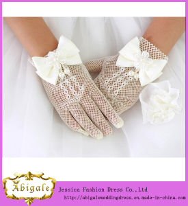 2014 New Arrival Long Full Finger Bow Knot Tulle Cheap Short Wedding Gloves (YC072) pictures & photos