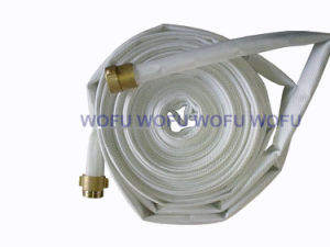 "1.5""X30m White Fire Hose with Brass Coupling pictures & photos"