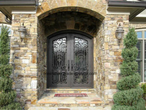 Fancy Exterior Front Custom Entrance Door with Wrought Iron pictures & photos