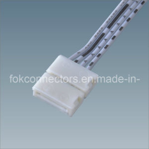 Solderless LED RGB Strips CE Connector for 5050 LED Strip Lights with 22AWG 4 Core White Strip Wire
