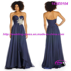 Beautiful Navy Chiffon Evening Prom Dress with Wonder Beading Flower pictures & photos