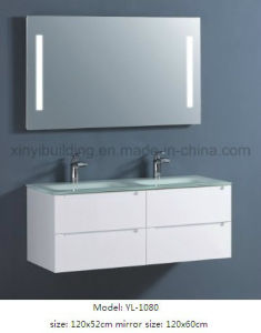 Sanitary Ware Double Glass Wash Basin Vanity with Mirror