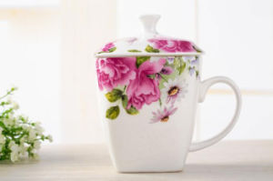 Porcelain Tea Cup with Flower Printing for Gifts pictures & photos