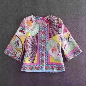2017 Spring New Women Korean Fashion Chinese Fans Printing Wool Coat pictures & photos