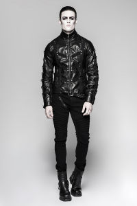 Unique Design Heavy Punk Black High Collar Short Leather Jackets (Y-764) pictures & photos