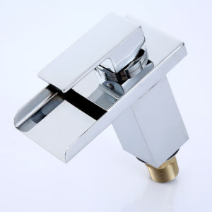 Fa003 LED White Glass Temperature of Hot and Cold Water Basin Faucet pictures & photos
