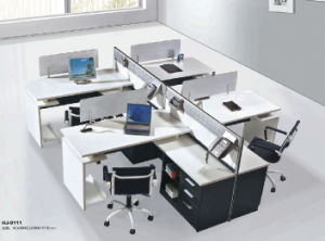 Office Desk with Side Cabinet Melamine Office Partition Workstation pictures & photos