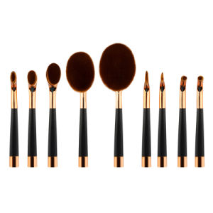 Rose Golden Color Tooth Brush Shape Oval Makeup Brush Multipurpose Professional Foundation Powder Brush Kits pictures & photos
