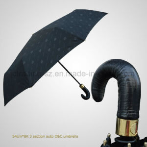 Real Leather Handle 3 Folding Automatic Open&Close Rain/Sun Umbrella (JF-AQT301) pictures & photos