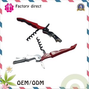 Multi-Function Stainless Steel All-in-One Double Hinged Corkscrew +Foil Cutter Knife + Cap Opener pictures & photos