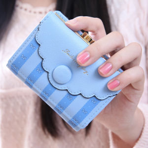 Light Blue Gold Logo Print Cute Fashion Wallet and Coin Purse pictures & photos