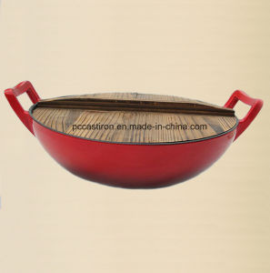 Preseasoned Cast Iron Wok with Cover Dia 25cm pictures & photos