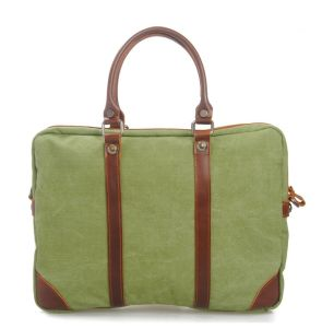 Washed Canvas Fabric Genuine Leather Bag Leather Computer Handbags (RS-8568) pictures & photos
