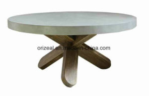 New Design Outdoor Industrial Concrete Top Wooden Round Coffee Table pictures & photos