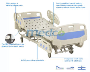Three Functions Silent Castors Electric Hospital Bed pictures & photos