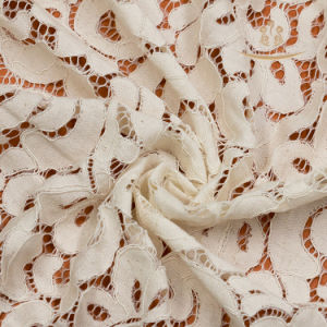 Chemical White Cording French Lace Embroidery Cotton Lace Fabric pictures & photos