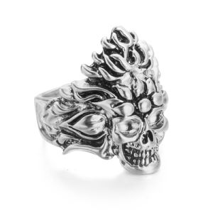 VAGULA Vintage Silver Skull Biker Ring pictures & photos