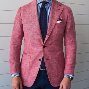 Men′s Pink Jacket Blazer in 100% Wool