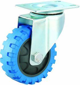 3/4/5 Inch Medium Duty PU Caster Blue Tyre Veins Fixed Castor Wheel pictures & photos