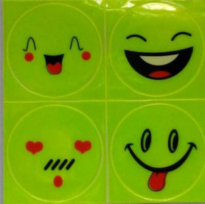 1 Sheet (4 PCS) , Reflective Sticker Small Smile Face for Motorcycle, Bicycle, Toy Any Where for Visible Safety pictures & photos
