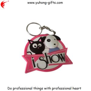 Custom Company Logo Wholesale Rubber Keychain (YH-KC160) pictures & photos