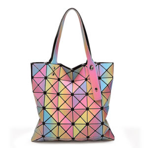 Rainbow Rhombic Geometry PU Shoulder Bag (A0112) pictures & photos
