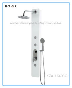 Kza-16403G Super White Round Top Shower Tempered Glass Shower Panel pictures & photos