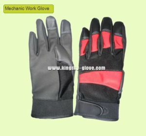 PU Reinforced Palm Terry Knit Mechanic Work Glove (PU Glove) pictures & photos
