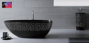 2017 Wholesale Eco Friendly Resin Stone Elegant Carve Pattern Black Bathtub pictures & photos