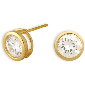 New Design Cubic Zirconia Stud Gold Earrings