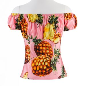 Latest Design Girls Top Hawaiian Blouse Boat Neck Blouse Designs pictures & photos