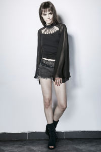 PT-111 Palace Tassels Neck Transparent Flared Sleeves Ladies Tight Shirts pictures & photos