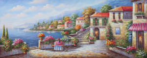 Custom Printed Type Beautiful Village Path with River Scenery Art Painting pictures & photos