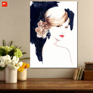 Watercolor Woman Portrait Canvas Art Print pictures & photos