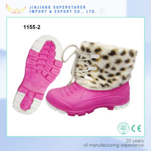 Winter Warm EVA Lady Lace up Snow Boot with Fur pictures & photos