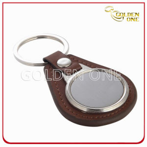 Factory Supply Blank Leather Key Chain with Rings pictures & photos
