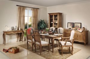 French Provincial Furniture Solid Wood Rustic Dining Table Set pictures & photos